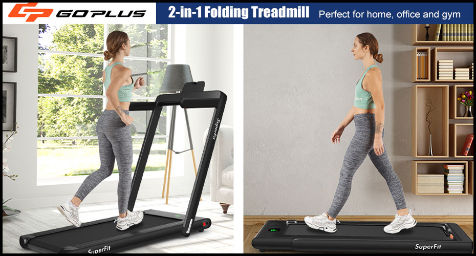 best treadmill for home use USA 2021, Goplus 2 in 1 Folding Treadmill